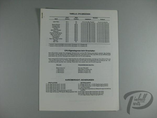 Deutsches Zusatzhandbuch Star Trek Data East